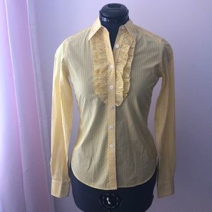 Lilly Pulitzer Yellow Striped Blouse SIZE 2 NWT